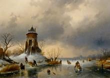 Зимний пейзаж конькобежцами на льду - Лейкерт, Шарль