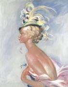 Модная женщина в шляпе с перьями, 1933 -  Домерг,  Жан-Габриэль