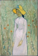 Девушка и поле пшеницы на заднем плане (Young Girl Standing against a Background of Wheat), 1890 - Гог, Винсент ван
