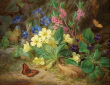 Альпийские цветы с фиалками и бабочками - Лауэр, Йозеф