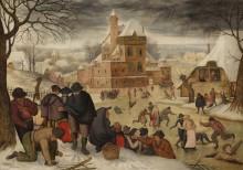 Зимний пейзаж с фигуристами - Брегель, Питер (младший)