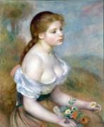 Девушка с ромашками - Ренуар, Пьер Огюст