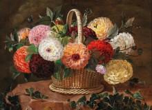 Корзина с георгинами и бабочка - Йенсен, Йохан Лаурентс