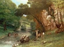Олени у реки - Курбе, Гюстав