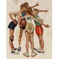 Роквелл Норман=Баскетбол=мальчики спорт иллюстрация K - Роквелл, Норман