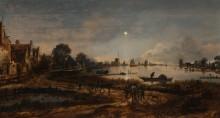 Речной пейзаж в лунном свете - Нер, Арт ван дер