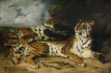 Молодой тигр, играющийся с матерью - Делакруа, Эжен