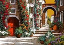 Красная дверь. Улочка на закате дня - Борелли, Гвидо (20 век)
