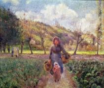 Крестьянка с ребенком, возвращающиеся с поля, Овер - Писсарро, Камиль