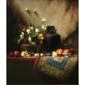Черный китайский кувшин и розы - Ридель, Давид