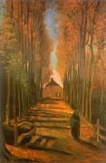 Улица с тополями на закате - Гог, Винсент ван