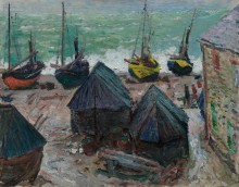 Лодки на берегу в Этрета - Моне, Клод