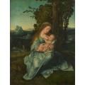 Мадонна с младенцем на фоне пейзажа