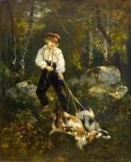 Мальчик с собаками в лесу - Диас де ла Пенья, Нарсис