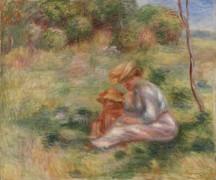 Женщина с ребенком на траве - Ренуар, Пьер Огюст