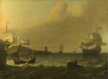 Голландский военный корабль входит в средиземноморский порт - Бакхейзен, Людольф
