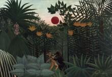 Тропический пейзаж со схваткой индейца с гориллой - Руссо, Анри
