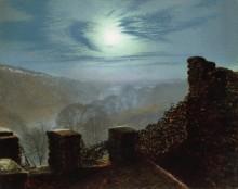 Полнолуние с перистыми облаками, вид со стен замка Раундхей Парк - Гримшоу, Джон Аткинсон