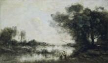 Пейзаж с прудом - Коро, Жан-Батист Камиль