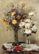 Цветы в двух стеклянных вазах на столе -  Фишер, Марк