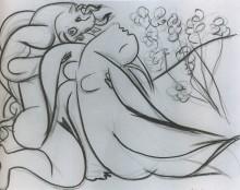 Минотавр и обнаженна, эскиз, 1933 - Пикассо, Пабло