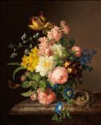 Букет цветов в вазе, птичье гнездо и бабочка - Лауэр, Йозеф