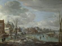 Замерзшая река возле деревни с игроками в гольф и фигуристами - Нир, Аерт ван де
