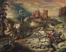 Всадники с лошадьми у замка - Кирико, Джорджо де