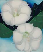 Два цветка дурмана с листвой - О'Кифф, Джорджия