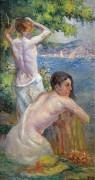 Сен-Тропе, две женщины на берегу залива, 1896-97 - Люс, Максимильен