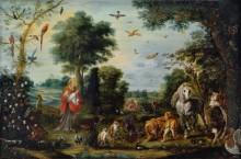 Райский пейзаж с сотворением животных - Брейгель, Ян (младший)