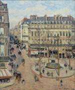 Площадь Комеди Франсез и улица Сент-Оноре, утреннее солнце - Писсарро, Камиль