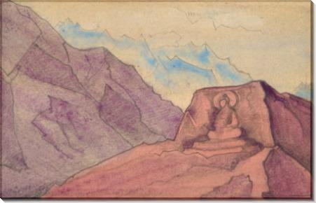Этюд с образом Майтреи, высеченным на скале - Рерих, Николай Константинович