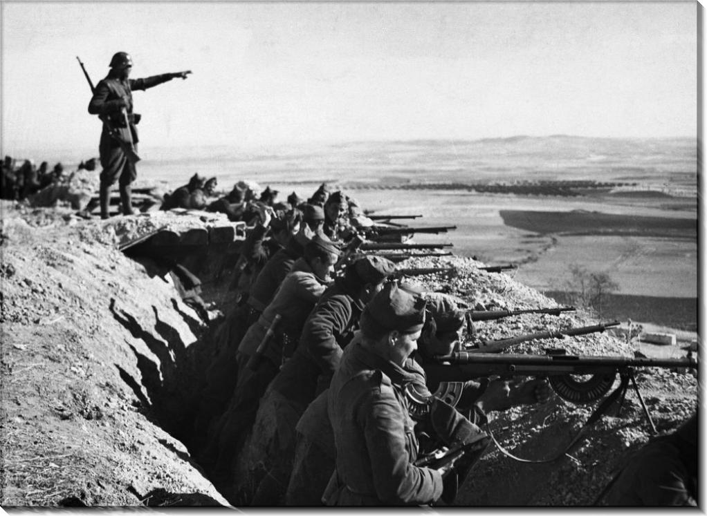 Солдаты республиканской Испании в окопе