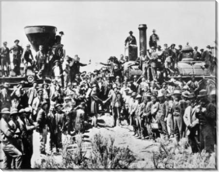 Празднование рабочими завершения  строительства трансконтинентальной железной дороги