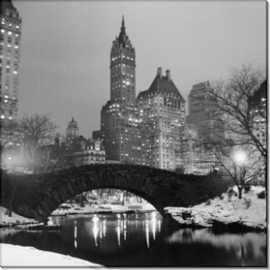 Пешеходный мост в заснежнном Центральном парке