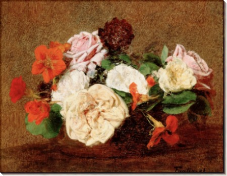 Розы и настурции в вазе - Фантен-Латур, Анри