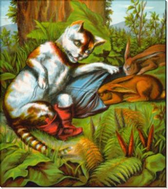 Кот в сапогах охотится на кроликов