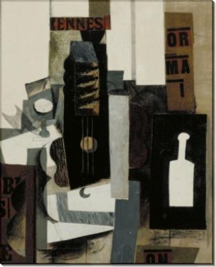 Стакан, гитара, и бутылка - Пикассо, Пабло