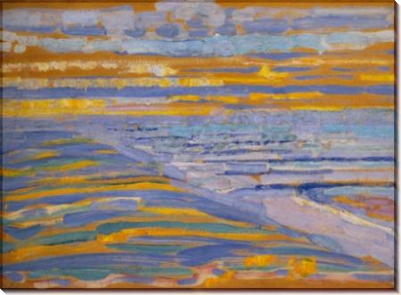 Вид с дюны на пляж и пирс - Мондриан, Пит