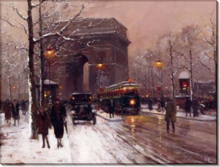 Триумфальная арка в Париже, зима - Кортес, Эдуард