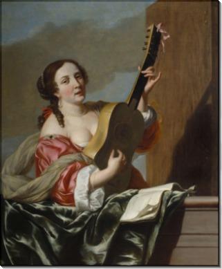 Леди, играющая на гитаре на балконе - Бронхорст, Ян ван