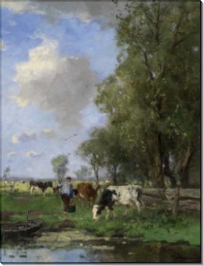 Рисунок с коровами на лугу - Шеревиц, Йохан Фредерик Корнелис