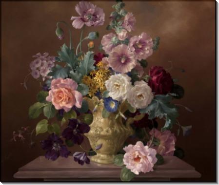Розы, мальвы и маки в кувшине - Клейтон, Гарольд