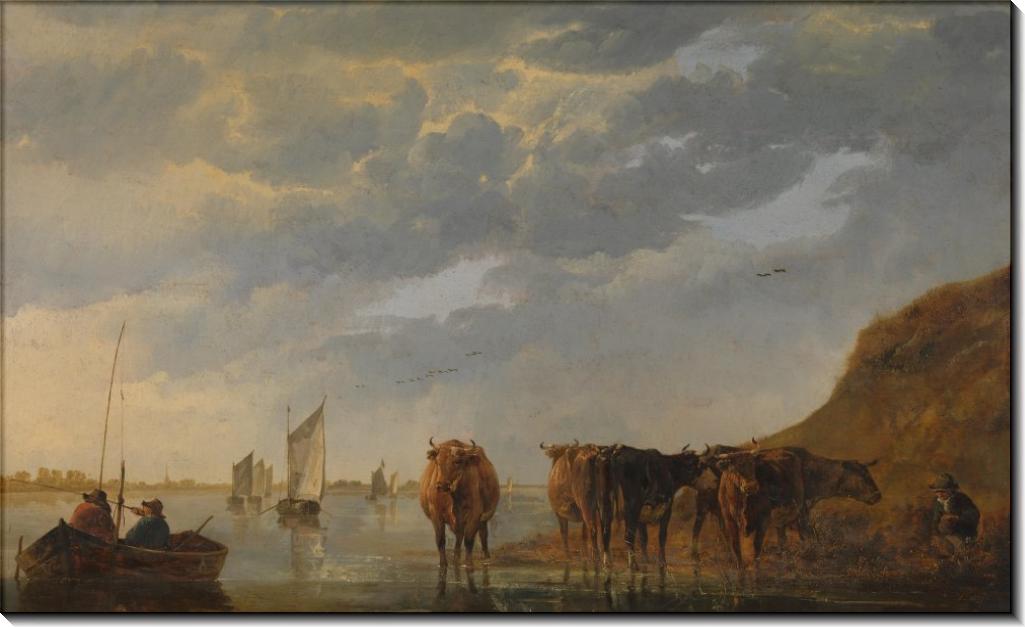 Пастух с пятью коровами на реке - Кейп, Альберт Якобз
