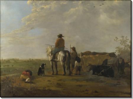 Пейзаж с всадником, пастухом и скотом - Кейп, Альберт Якобз