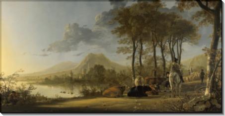 Пейзаж с крестьянами и пастухом на берегу реки - Кейп, Альберт Якобз