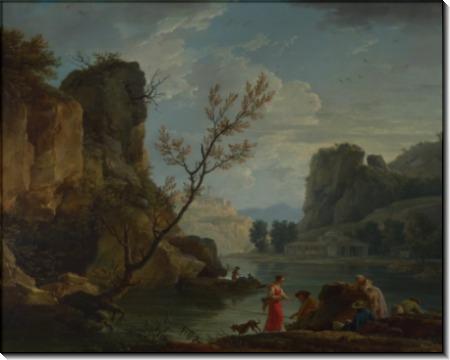 Река с рыбаками - Верне, Клод Жозеф