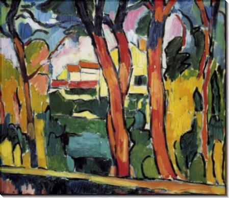 Пейзаж с красными деревьями - Вламинк, Морис де