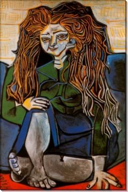 Портрет мадам H.P на зеленом фоне, 1952 - Пикассо, Пабло